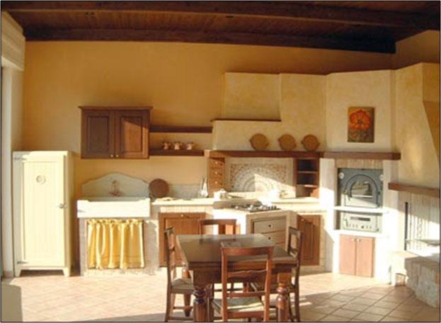Diemme cucine in muratura lavori eseguiti domus uno for Tendine per cucina rustica